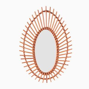 French Oval Rattan Wall Mirror, 1960s