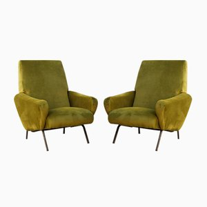 Green Velvet Armchairs by Giuseppe Rossi of Albizzate, 1960s, Set of 2