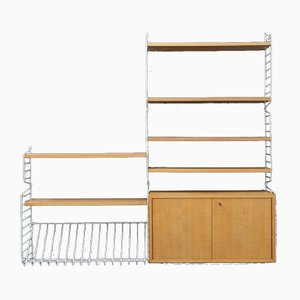 String Shelving System with Container in Elm by Kajsa & Nils Nisse Strinning, 1960s