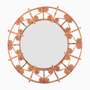 Large Round Rattan Mirror with Filigree Peacock Frame, Spain, 1960s