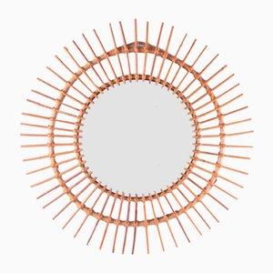 French Bohemian Style Round Rattan Mirror