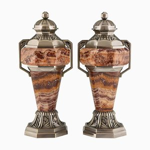 French Art Deco Marble and Bronze Urns, 1925, Set of 2