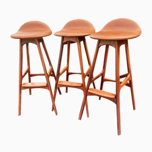 Rosewood High Stools by Erik Buch for Oddemse Maskinsnedkeri AS, Set of 3