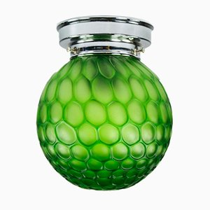 Art Deco Ceiling Lamp with Green Crocodile Glass Shade, 1930s