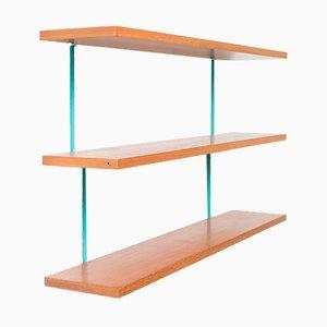 Teak and Green Metal Ladder Wall Shelf, 1960s