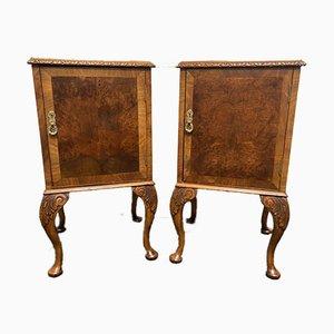 Queen Anne Burr Walnut Bedside Cupboards, Set of 2