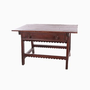 Spanish Brutalist Wooden Payment Table or Side Table, 19th Century