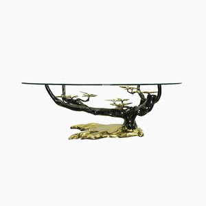 Brass & Glass Bonsai Coffee Table in the Style of Willy Daro, 1970s