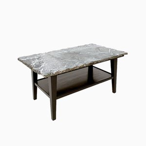 Mid-Century Ebonized Wood Coffee Table with Green Alps Marble Top, 1940s