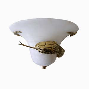Large Cast Brass & Alabaster Snake Sconce or Wall Lamp, Italy, 1970s