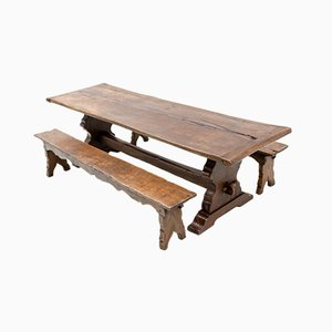 18th Century French Provincial Oak Trestle Farm Table with Two Benches, Set of 3