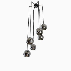 Cascading Spider Pendant Lamp with 6 Chrome Spheres, Germany, 1970s