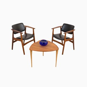 Teak Chairs in Black Aniline Leather by Arne Vodder, 1960s, Set of 2
