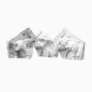 Plaster Casts of Elephants, Set of 3