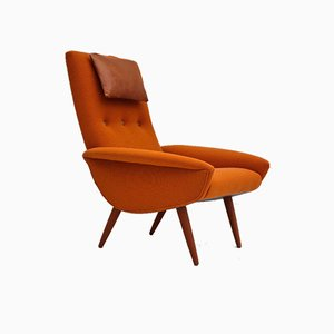 Reupholstered High-Backed Armchair in Wool, Denmark, 1960s