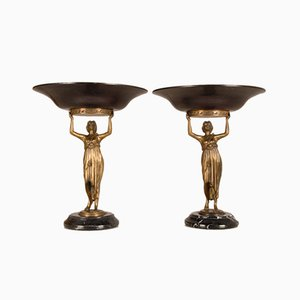 Vintage French Neoclassical Figural Gilt and Patinated Bronze Centrepieces or Tazza, Set of 2