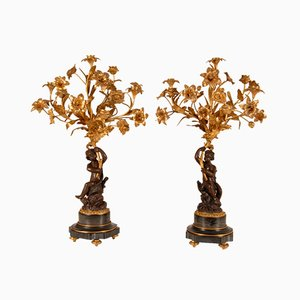 Antique French Napoleon III Figural Candelabras in Ormolu, Bronze and Marble Depicting Cupid or Cherub with Flowers, Set of 2