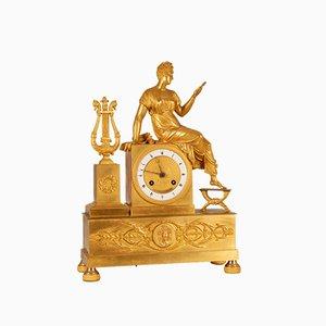 Empire French Mercury Gilded Bronze Clock Depicting Mythological Scene with Clio