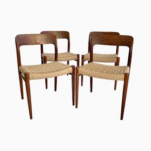 Vintage Danish Teak No. 75 Chairs by Niels Møller for J. L. Møllers, Set of 4