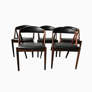 Danish Rosewood No. 31 Chairs by Kai Kristiansen for Schou Andersen, 1960s or 1970s, Set of 5