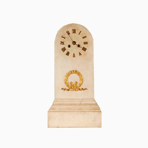 French Empire Bronze and White Marble Pendulum Mantel Clock, Early 19th Century