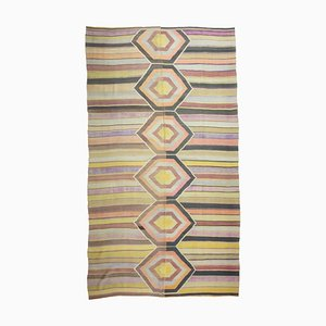 Mid-Century Handwoven Kilim Rug in Yellow, Pink, Lavender and Black-Brown Geometric Pattern, 1950s