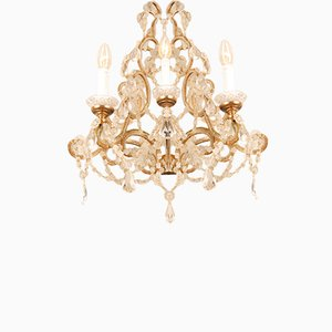Mid-Century Italian Macaroni Beaded 3-Light Sconces in Murano Glass, Crystal and Gold by Ercole Barovier, Set of 2