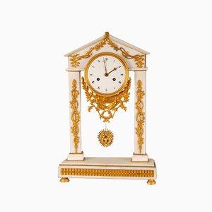 Antique French Louis XVI White Marble & Mercury Gilded Column Mantel Clock in Ormolu Bronze, 18th Century