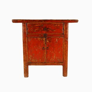 Antique Chinese Qing Period Sideboard with Original Distressed Red Lacquer, 19th Century