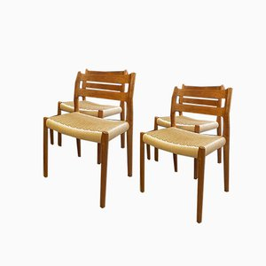 Vintage Danish Teak No. 84 Chairs by Niels Moller for JL Møllers, 1960s or 1970s, Set of 4