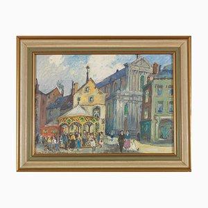 Albert Dandoy (Namur, 1885 - Namur, 1977), Place L'ilon Namur, Oil on Canvas, 1963