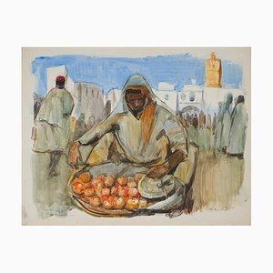 Lucien Desmaré (Schaarbeek, 1905 - Brussels, 1961), Market at Kairouan in Tunisia, Watercolor