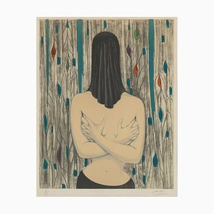 Labisse Félix, Surreal Woman With Black Cloth Over Her Head, Framed Lithography