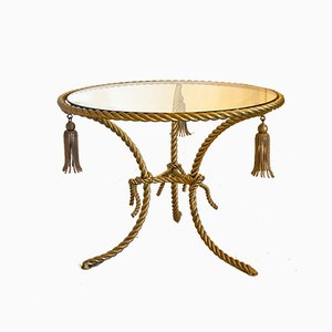 Coffee Table in Gilded Iron and Rope, 1960s