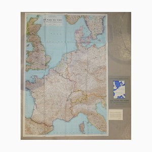 Opera Cartographic Mirabile Card from North Sea to the Mediterranean and Ethnographic Europe from C. T. I. Milan, Italy, 1939, Set of 3