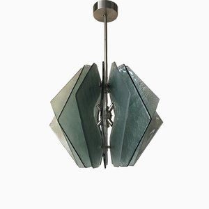 Mid-Century Aqua Green Murano Glass Chandelier in the Style of Fontana Arte, 1980