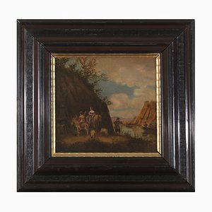 Noblewoman with Squire, 19th Century in the Style of 17th Century, Landscape Painting with Staffage, Framed Oil on Copper