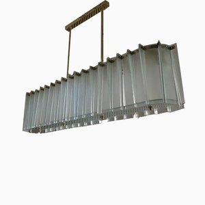Mid-Century Rectangular Glass and Brass Chandelier in the Style of Max Ingrand, 1960s