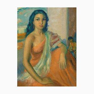 José Lamuno Garcia, Portrait of a Young Spanish Woman, 1952, Framed Oil on Canvas