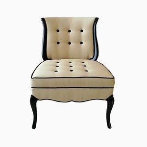 Vintage Hollywood Regency Ebonised Harp-Back Lounge or Side Chairs, USA, 1950s, Set of 2