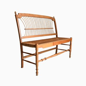 Mid-Century Modern Swedish Pine and Papercord 2-Seater Bench