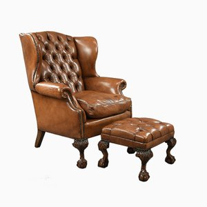 Antique Deep Buttoned Leather Wing Chair and Footstool, Set of 2