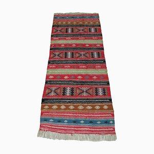 Small Vintage Berber Artisanal Multicolored Kilim Runner