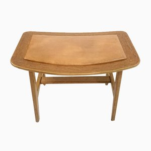 Footstool in Teak and Oak with Patinated Brown Leather in the Style of Peter Hvidt & Orla Mølgaard-Nielsen