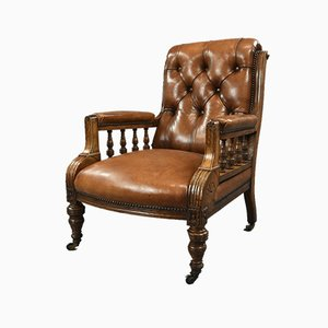 Antique Victorian Oak & Leather Library Chair