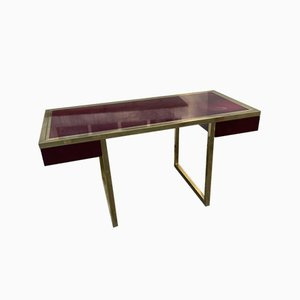 Red Lacquer & Brass Desk by Guy Lefevre