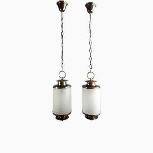 Vintage Italian Brass & Glass Lanterns, 1950s, Set of 2
