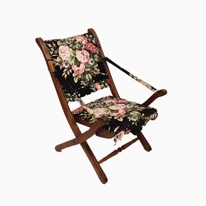 Folding Chair with Floral Upholstery, Spain, 1970s