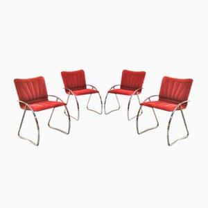 Italian Mid-Century Modern Red Velvet Chairs, 1970s, Set of 4