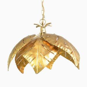 Hollywood Regency Gold Leaf Pendant Light from Maison Jansen